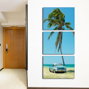 Retro Car In Havana Multi Panel Canvas Wall Art - Motor