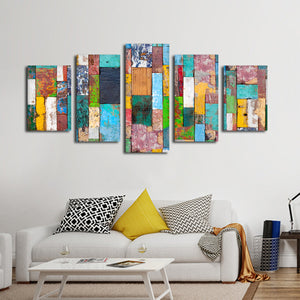 Retro Wood Multi Panel Canvas Wall Art - Color