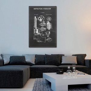 Revolving Firearm Patent BW Canvas Wall Art - Hunting