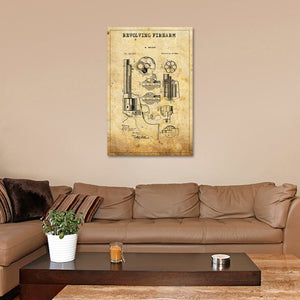 Revolving Firearm Patent Canvas Wall Art - Hunting
