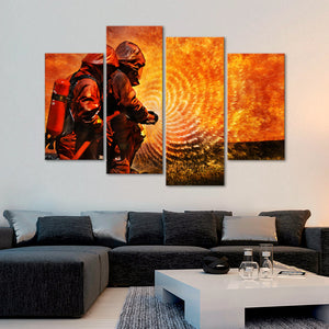 Rings Of Fire Multi Panel Canvas Wall Art - Firefighters