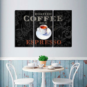 Roasted Espresso Multi Panel Canvas Wall Art - Coffee
