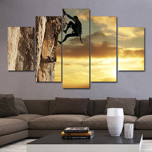 Rock Climbing At Sunset Multi Panel Canvas Wall Art - Climb