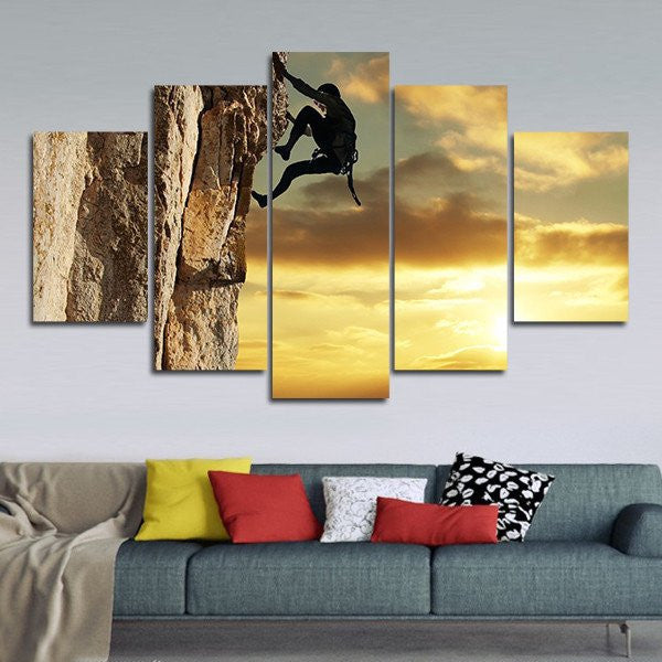 Rock Climbing At Sunset Multi Panel Canvas Wall Art | ElephantStock