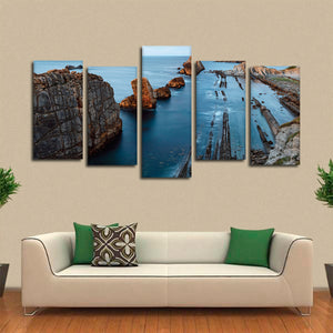 Rocks At Seashore Multi Panel Canvas Wall Art - Beach