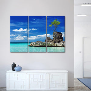 Rocky Boracay Multi Panel Canvas Wall Art - Philippines