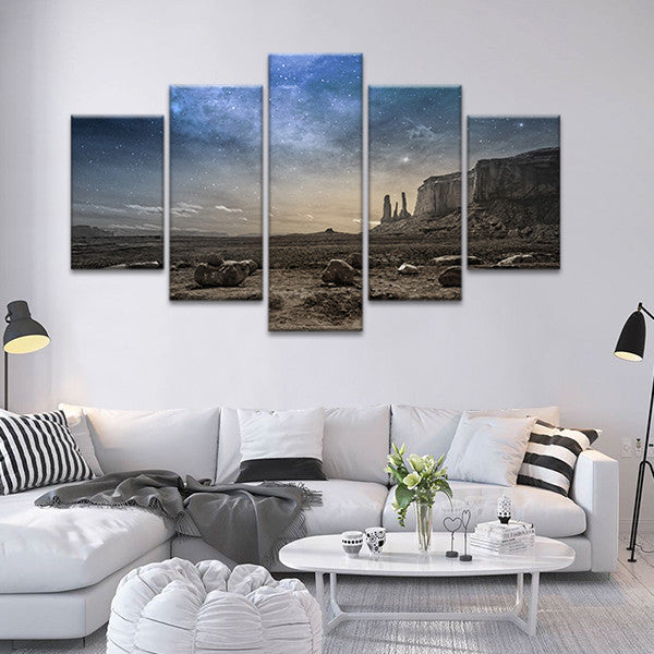 Night Sky At Rocky Desert Multi Panel Canvas Wall Art