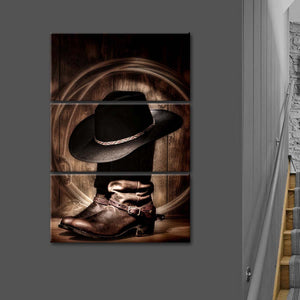 Rodeo Ready Multi Panel Canvas Wall Art - Cowboy