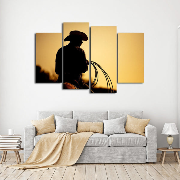 Rodeo Cowboy Multi Panel Canvas Wall Art