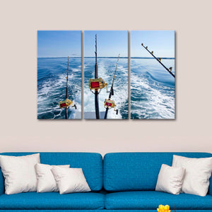 Rods at Sea Multi Panel Canvas Wall Art - Fishing