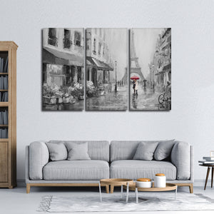 Romance In Paris Pop Multi Panel Canvas Wall Art - Paris