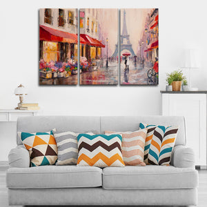 Romance In Paris Multi Panel Canvas Wall Art - Paris