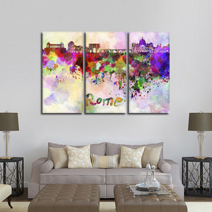 Rome Watercolor Skyline Multi Panel Canvas Wall Art - City