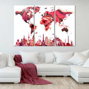 Rose Gold World Map Masterpiece Multi Panel Canvas Wall Art - World_map