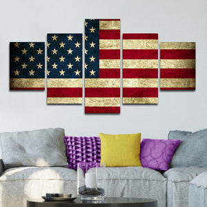 Rustic American Flag Multi Panel Canvas Wall Art - America