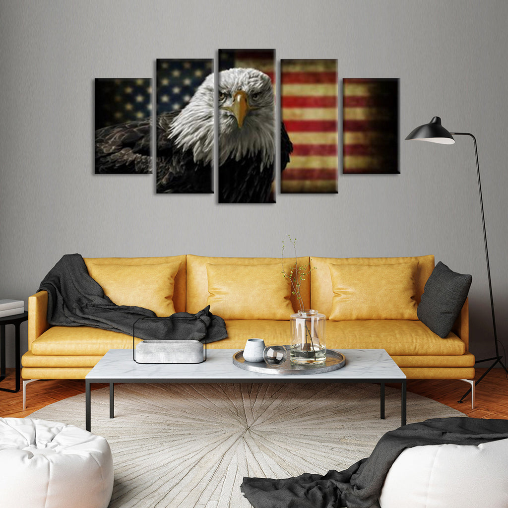 Rustic Eagle Flag Multi Panel Canvas Wall Art Elephantstock