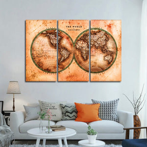 Rustic Hemispheres Map Multi Panel Canvas Wall Art - World_map