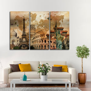 Rustic Landmark World Map Multi Panel Canvas Wall Art - World_map