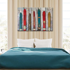 Rustic Skis Multi Panel Canvas Wall Art - Ski