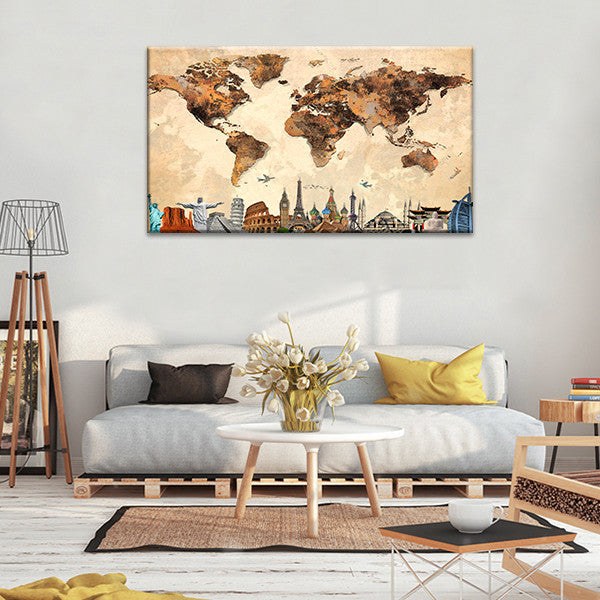 Rustic world map masterpiece multi panel canvas wall art elephantstock rustic world map masterpiece multi panel canvas wall art gumiabroncs Choice Image