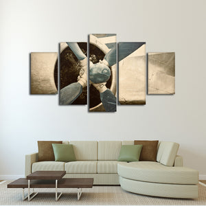 Rustic Engine Close Up Multi Panel Canvas Wall Art - Airplane