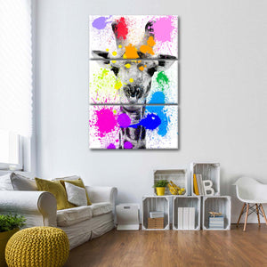 Safari Splash Giraffe Multi Panel Canvas Wall Art - Indie