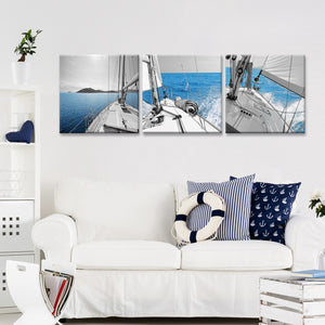 Sailing To The Horizon Canvas Set Wall Art - Boat
