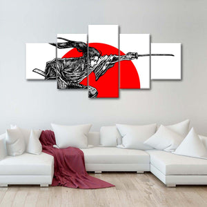 Samurai Honor Multi Panel Canvas Wall Art - Japan