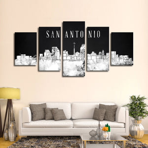 San Antonio Watercolor Skyline BW Multi Panel Canvas Wall Art - City