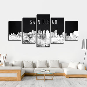 San Diego Watercolor Skyline BW Multi Panel Canvas Wall Art - City