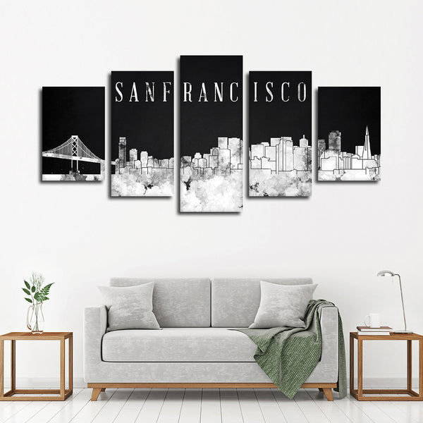 Attractive San Francisco Watercolor Skyline BW Multi Panel Canvas Wall Art