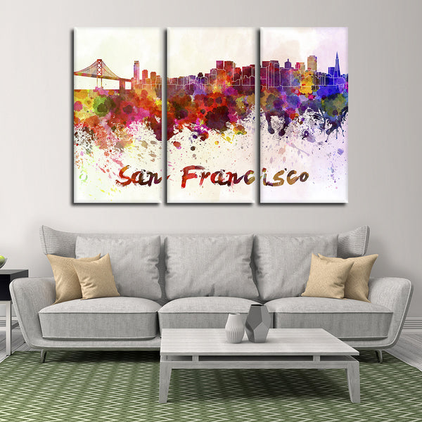 San Francisco Watercolor Skyline Multi Panel Canvas Wall Art