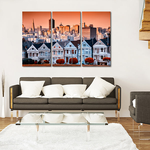 San Francisco Houses Multi Panel Canvas Wall Art