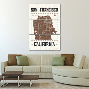 San Francisco Map Multi Panel Canvas Wall Art - America
