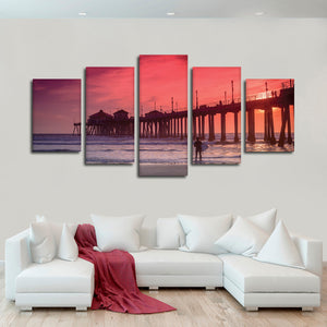 Huntington Beach Pier At Sunset Multi Panel Canvas Wall Art - Surfing