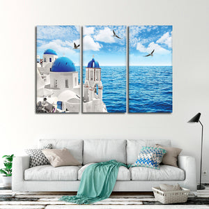 Santorini Island Multi Panel Canvas Wall Art - Beach