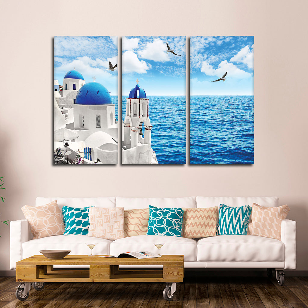 Santorini Greece Panoramic Picture Canvas Print Home Decor Wall Art