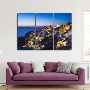 Santorini at Sunset Multi Panel Canvas Wall Art - Beach