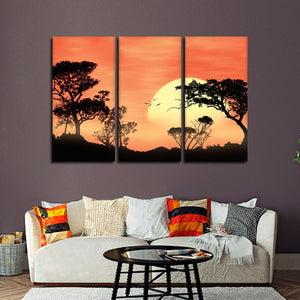 Savanna Sunset Multi Panel Canvas Wall Art - Africa