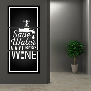 Save Water Drink Wine Multi Panel Canvas Wall Art - Winery