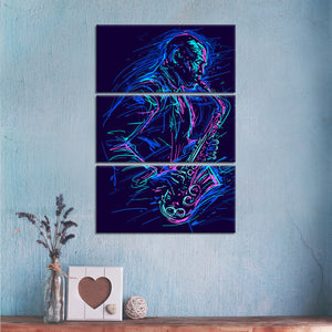 Saxophone Neon Multi Panel Canvas Wall Art - Saxophone