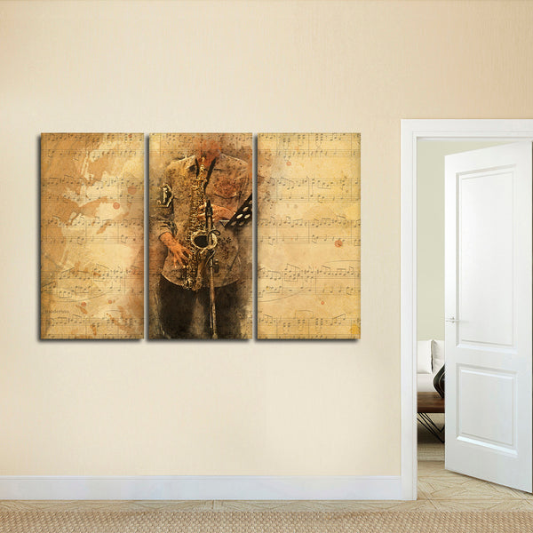Saxophone Tunes Multi Panel Canvas Wall Art | ElephantStock