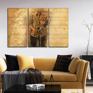 Saxophone Tunes Multi Panel Canvas Wall Art - Saxophone