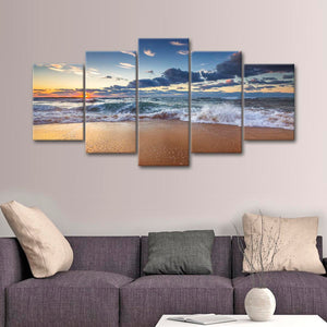 Sea Cloudscape Multi Panel Canvas Wall Art - Beach
