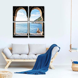 Sea View Multi Panel Canvas Wall Art - Beach