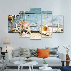 Seashells Multi Panel Canvas Wall Art - Beach