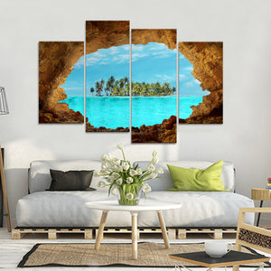 Secret Island Multi Panel Canvas Wall Art - Beach