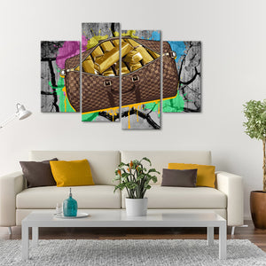 Secure the Gold Multi Panel Canvas Wall Art - Gold