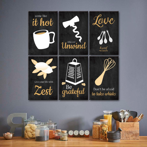 Kitchen Motivation Canvas Set Wall Art
