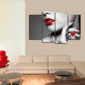 Sexy Red Lips Pop Multi Panel Canvas Wall Art - Nails